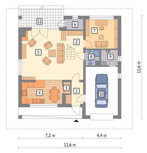 Rzut parteru POW. 93,2 m²