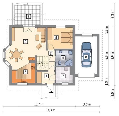 Rzut parteru POW. 85,5 m²