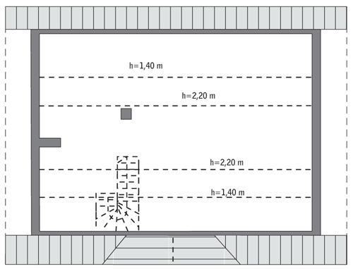 Rzut poddasza: do indywidualnej adaptacji (46,8 m2 powierzchni użytkowej)