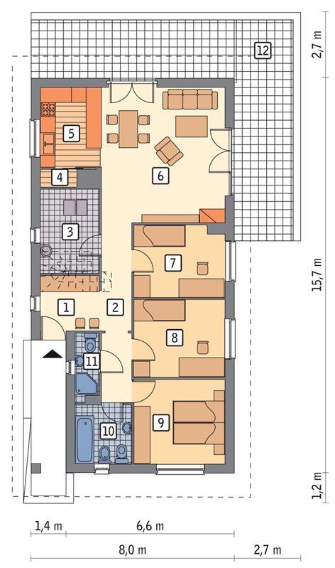 Rzut parteru POW. 95,7 m²