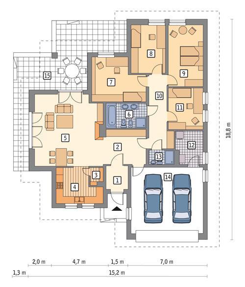 Rzut parteru POW. 169,6 m²