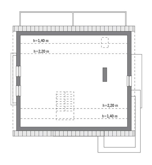 Rzut poddasza: do indywidualnej adaptacji (84,0 m2 powierzchni użytkowej)