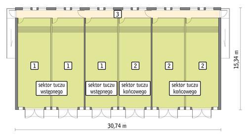 Rzut przyziemia POW. 424,2 m²