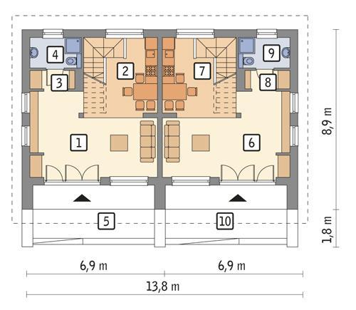 Rzut parteru POW. 84,6 m²