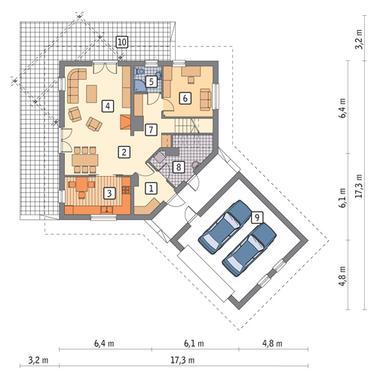 RZUT PARTERU POW. 76,8 m²